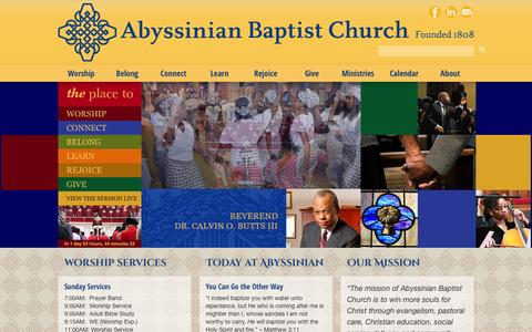 Screenshot of Home Page abyssinian.org - Abyssinian Baptist Church | Winning more souls for Christ - captured Oct. 4, 2014