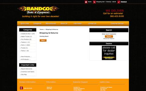 Screenshot of Support Page randcotanks.com - Shipping & Returns : Randco Tanks & Equipments, Building It Right For Over a Decade! - captured Nov. 4, 2014