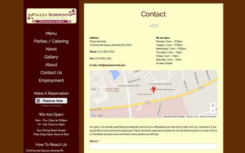 Screenshot of Contact Page piazzasorrento.com - Contact - captured Dec. 9, 2015