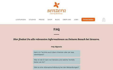 Screenshot of FAQ Page senzera.com - FAQ - Senzera - Waxing & Sugaring   Professionelle Haarentfernung - captured Sept. 30, 2018