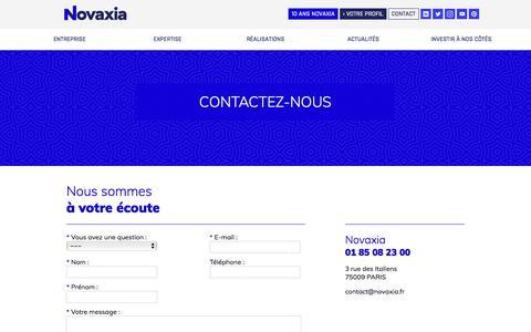 Screenshot of Contact Page novaxia.fr - Novaxia » contact - captured Sept. 21, 2018