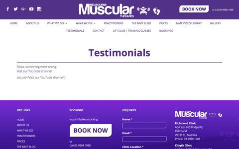 Screenshot of Testimonials Page musculartherapy.com.au - Massage Testimonials | Melbourne Muscular Therapies | Success Stories - captured Oct. 18, 2017
