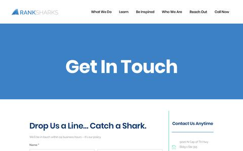 Screenshot of Support Page ranksharks.com - Get In Touch   Ranksharks - captured Jan. 15, 2018