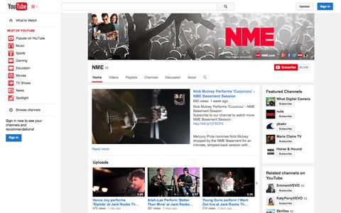 Screenshot of YouTube Page youtube.com - NME  - YouTube - captured Oct. 26, 2014