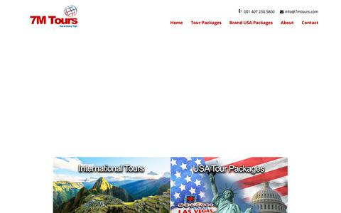 Screenshot of Home Page 7mtours.com - 7M Tours | Best Indian Tour Operator in USA | Indian DMC in USA | Best Tour Operator in USA - captured Feb. 15, 2019