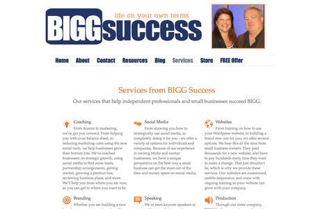 Screenshot of Services Page biggsuccess.com - Services - captured Sept. 30, 2014