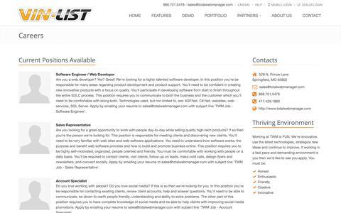 Screenshot of Jobs Page vinlist.com - Careers - VinList - Dealer Websites and Inventory Marketing - captured Oct. 20, 2018