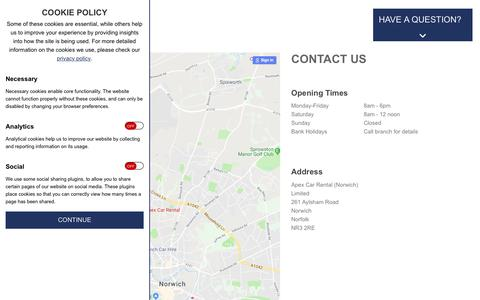 Screenshot of Contact Page apexcarrental.co.uk - Magento Commerce - captured July 30, 2018
