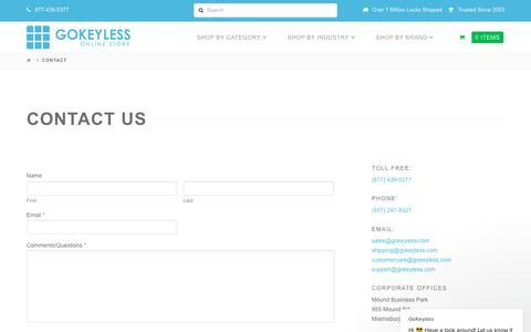 Screenshot of Contact Page gokeyless.com - GoKeyless says… - captured Nov. 6, 2018
