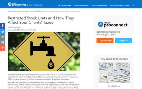 Screenshot of Press Page intuit.com - Restricted Stock Units and How They Affect Your Clients' Taxes | Tax Pro Center | Intuit ProConnect - captured Nov. 21, 2019