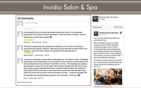 Screenshot of Testimonials Page invidiasalon.com - Invidia Salon & Spa | Client Comments - captured Oct. 12, 2018