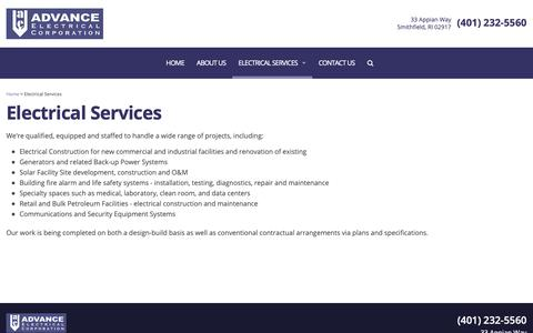 Screenshot of Services Page advance-electrical.com - Electrical Services – Industrial, Fire Alarms, Generators, Retail, and Solar - captured Oct. 3, 2018