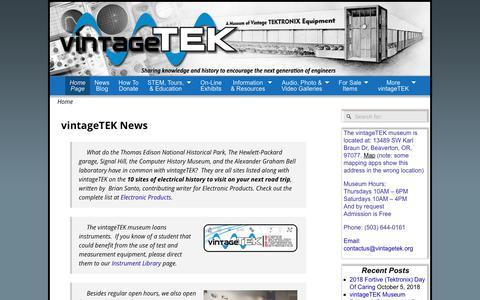 Screenshot of Home Page vintagetek.org captured Oct. 20, 2018