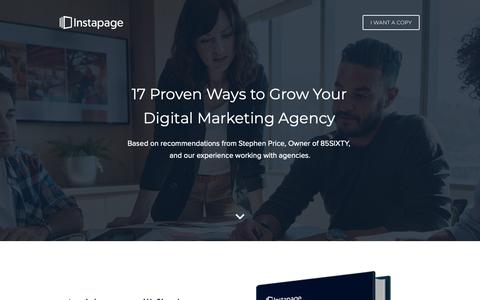 Screenshot of Landing Page instapage.com - 17 Proven Ways to Grow Your Digital Marketing Agency - captured Nov. 9, 2018