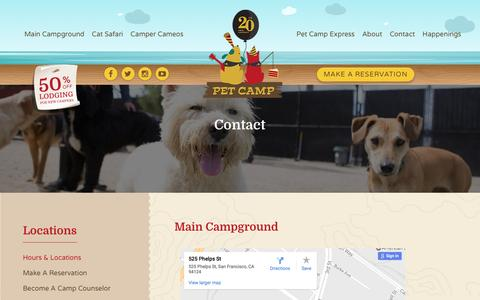 Screenshot of Locations Page petcamp.com - Pet Camp | Dog and Cat Boarding Locations | San Francisco and Bay Area - captured May 16, 2017