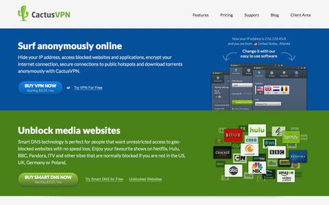 Screenshot of Home Page cactusvpn.com - Hide your IP address, encrypt your internet connection, access blocked websites and applications, secure connection to public hotspots and download torrents anonymously with VPN Service from CactusVPN - captured Jan. 16, 2015