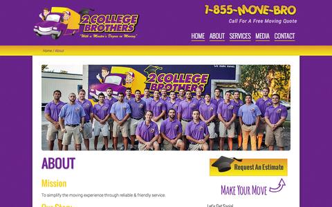 Screenshot of About Page 2collegebrothers.com - Moving Company | Gainesville, FL | 2 College Brothers, Inc. - captured Nov. 5, 2014