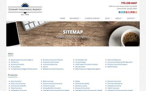 Screenshot of Site Map Page cowartinsurance.com - Insurance Website Sitemap | Cowart Insurance Agency - captured Sept. 29, 2018