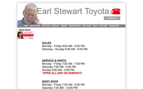 Screenshot of Hours Page earlstewarttoyota.com - Earl Stewart Toyota Lake Park Florida serving West Palm Beach Glades - captured Oct. 1, 2014
