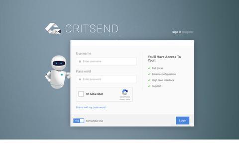 Screenshot of Signup Page critsend.com - Critsend - Signin - captured July 17, 2016
