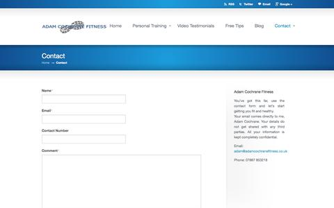 Screenshot of Contact Page adamcochranefitness.co.uk - Contact «  Adam Cochrane Fitness - captured Oct. 4, 2014