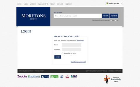 Screenshot of Login Page moretons.co.uk - Login Welcome Moretons Estate Agents - Central London and SW1 Leading Estate Agents - captured Oct. 26, 2014