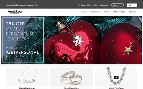 Screenshot of Home Page annalouoflondon.com - Anna Lou of London: Personalised Jewellery and British Accessories - captured Nov. 6, 2018