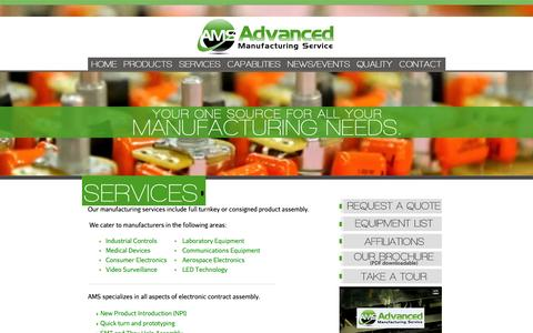 Screenshot of Services Page advancedmfgservice.com - Advanced Manufacturing Service Provides OEM's With a Cost Effective Manufacturing Solution | Electronic Manufacturing Service | Medical Device Manufacturing | Industrial Product Manufacturing | PCB Assembly - captured Feb. 5, 2016