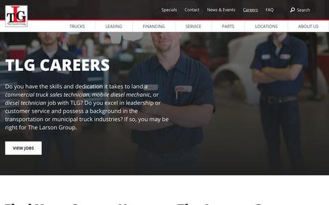 Screenshot of Jobs Page tlgtrucks.com - Mobile Diesel Mechanic and Diesel Technician Jobs | TLG - captured Sept. 29, 2018