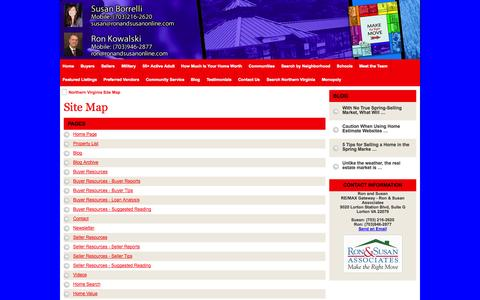 Screenshot of Site Map Page northernvirginiaselectproperties.com - Northern Virginia Site Map - RE/MAX Gateway - Ron & Susan Associates Northern Virginia Real Estate - captured Oct. 6, 2014
