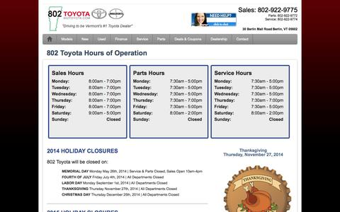 Screenshot of Hours Page 802toyota.com - Hours of Operation & Holiday Closures | 802 Toyota - captured Oct. 6, 2014