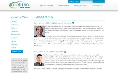 Screenshot of Team Page motwin.com - moTwin - enterprise platform for real-time apps - captured July 19, 2014