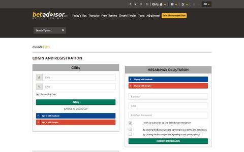 Screenshot of Login Page betadvisor.com - Sports betting tips from professional tipsters - BetAdvisor - captured Dec. 9, 2016