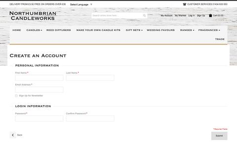 Screenshot of Signup Page northumbriancandleworks.co.uk - Create New Customer Account - captured Jan. 11, 2016