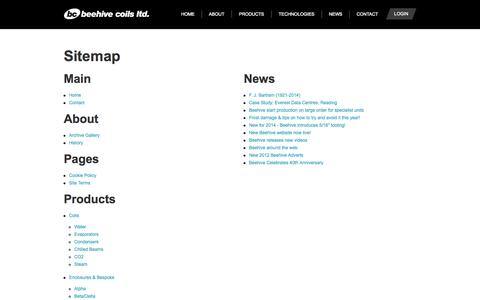 Screenshot of Site Map Page beehivecoils.co.uk - Sitemap - Beehive Coils Ltd - Experts in refrigeration, air conditioning & heat transfer equipment design and manufacture - captured Sept. 30, 2014