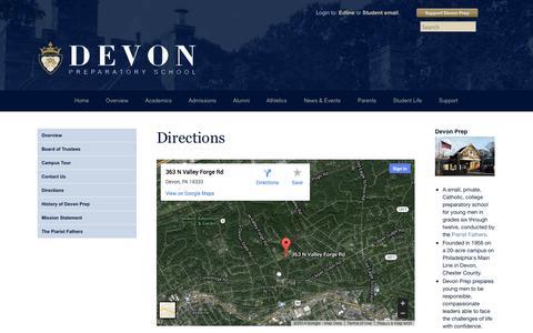 Screenshot of Maps & Directions Page devonprep.com - Directions - Devon Preparatory School - captured Oct. 5, 2014
