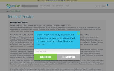Screenshot of Terms Page cardcash.com - Terms of Service | CardCash - captured Jan. 27, 2017