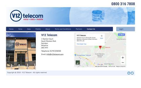 Screenshot of Contact Page v12telecom.com - Contact Us - captured Sept. 20, 2018