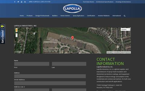 Screenshot of Contact Page lapolla.com - Contact Lapolla Industries, Inc. - captured July 19, 2014