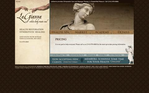 Screenshot of Pricing Page lagianna.com - LaGianna, Saint Louis, Missouri ~ Packages of our Chiropractic Health Spa and Massage Therapy Services - captured Oct. 1, 2014