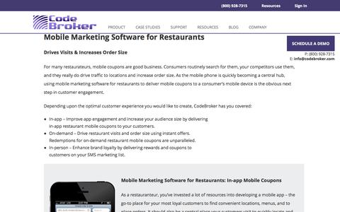 Mobile Marketing Software for Restaurants | CodeBroker