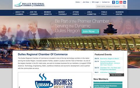 Screenshot of Home Page dullesregionalchamber.org - Dulles Regional Chamber of Commerce - Home - captured Oct. 5, 2014