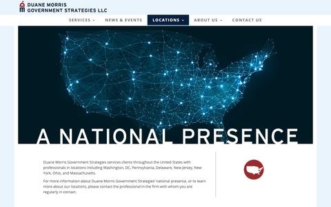 Screenshot of Locations Page dmgs.com - Duane Morris Government Strategies LLC | A National Presence - captured Oct. 9, 2018