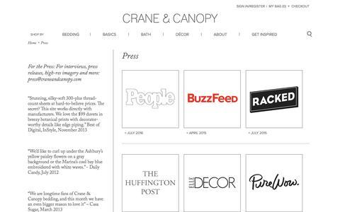 Screenshot of Press Page craneandcanopy.com - Press | Crane & Canopy - captured Nov. 13, 2016