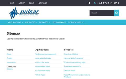 Screenshot of Site Map Page pulsarinstruments.com captured June 7, 2018