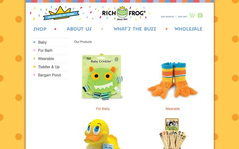 Screenshot of Products Page richfrog.com - Our Products - Rich Frog - captured Oct. 6, 2014