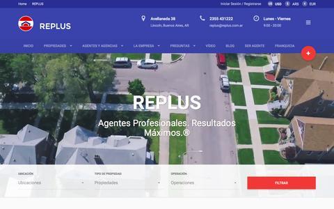 Screenshot of Home Page replus.com.ar - REPLUS® Servicios Inmobiliarios - captured Feb. 14, 2016