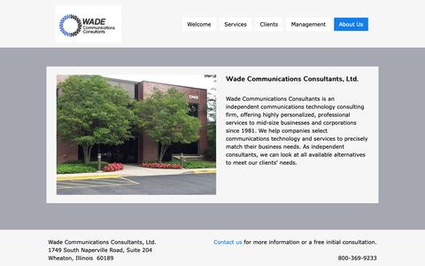 Screenshot of About Page wadeconsultants.com - Wade | About Us - Telecom Consultants - captured Oct. 18, 2018