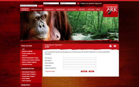 Screenshot of Signup Page zoossa.com.au - Join - Adelaide Zoo and Monarto Zoo. Australian Panda home. - captured Oct. 27, 2014