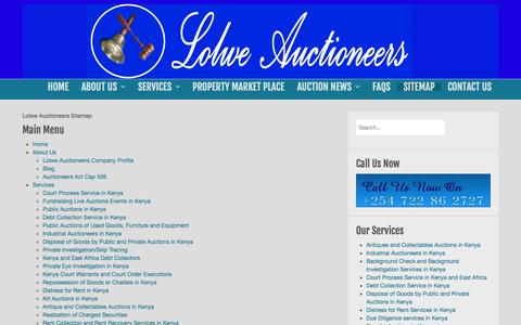 Screenshot of Site Map Page lolweauctioneers.com captured Oct. 28, 2014